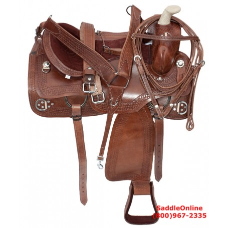 Western Pleasure Trail Training Ranch Horse Saddle 16