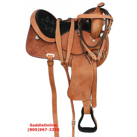 Western Pleasure Trail Horse Leather Saddle 18