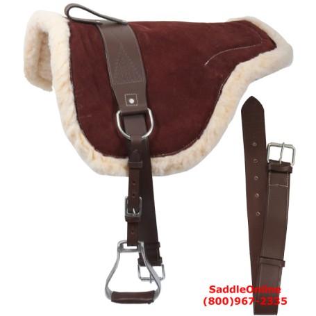 Brown Leather Bareback Pad With Stirrups Girth