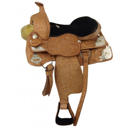 Premium leather hand carved western show saddle.