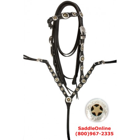 Black Leather Texas Star Headstall Reins Breast Plate Set