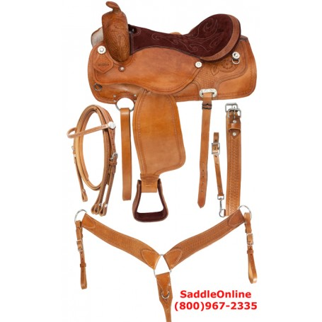 New 16 Fancy Hand Tooled Western Saddle