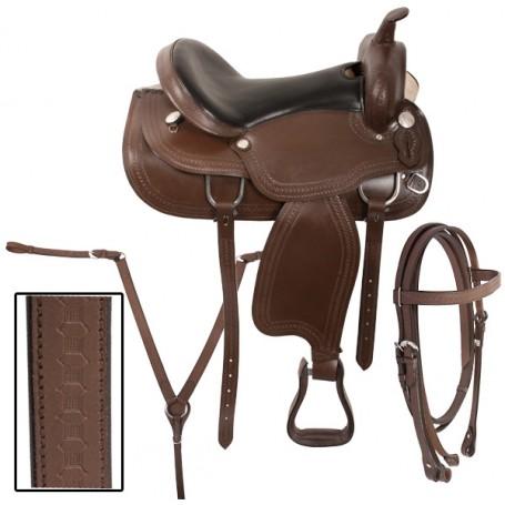 Brown Western Horse Trail Saddle Tack 16 17