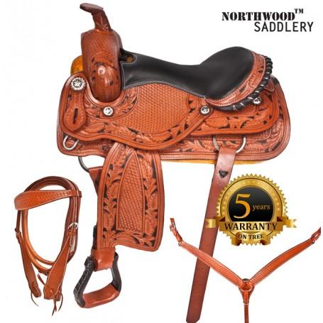 Custom Western Barrel Show Leather Horse Saddle Tack 15 17
