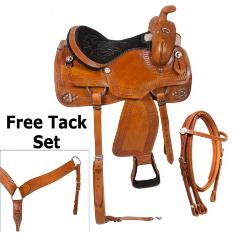 Custom Western Trail Ranch Leather Horse Saddle Tack 15 16