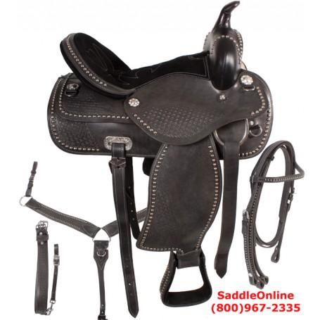 Black Western Pleasure Trail Horse Saddle 18