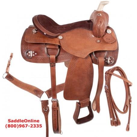 Western Pleasure Trail Leather Horse Saddle 17