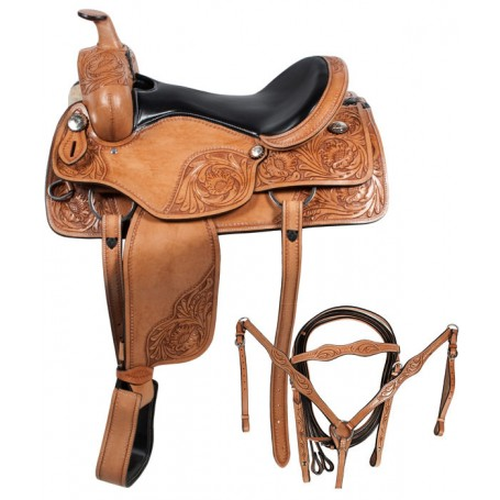 Western Pleasure Leather Horse Saddle Tack 16 18