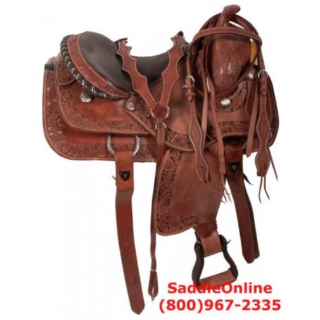 Western Pleasure Filigree Trail Horse Leather Saddle 16