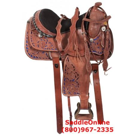 Western Blue Filigree Trail Horse Leather Saddle 16