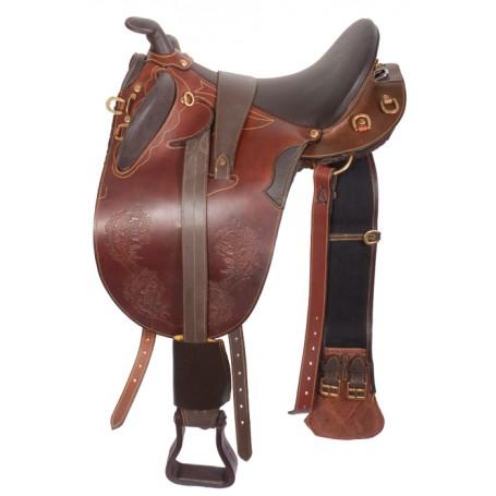 Leather Australian Saddle Horn Stirrups Over Girth 18