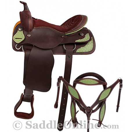 Ready To Ride Western Pleasure Green Ostrich Saddle 16