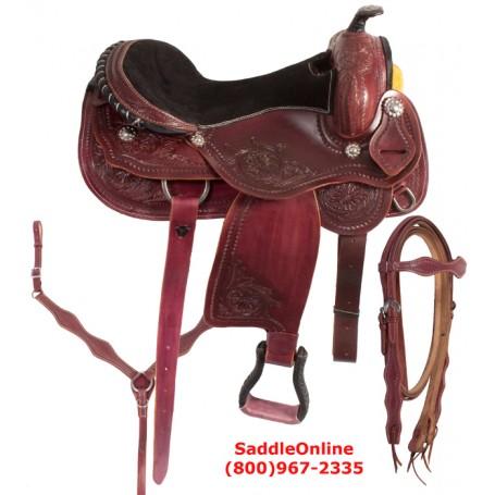 Unique Carved Western Pleasure Trail Horse Saddle 17