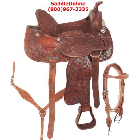 Pleasure Western Horse Trail Leather Saddle 16