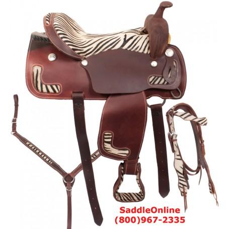 Zebra Western Pleasure Trail Horse Saddle 17