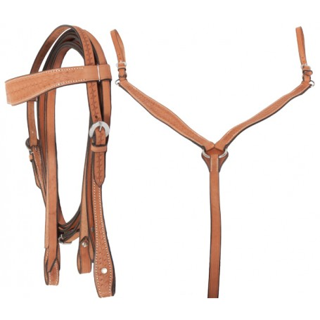 Brown Leather Headstall Reins Breast Plate Tack Set