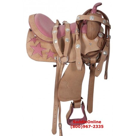16 Pink Western Hearts Leather Horse Saddle