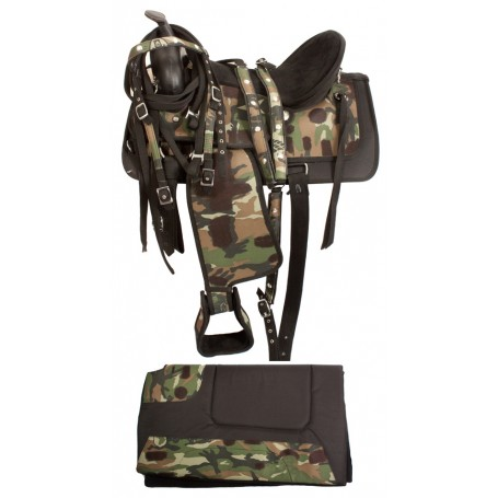 Camo Synthetic Western Pleasure Trail Horse Saddle 18