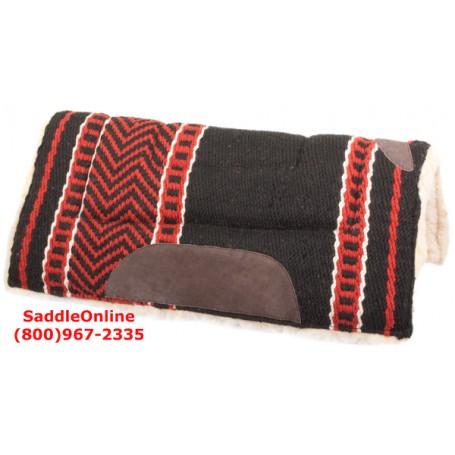 Premium Black Red Fleece Lined Heavy Saddle Pad