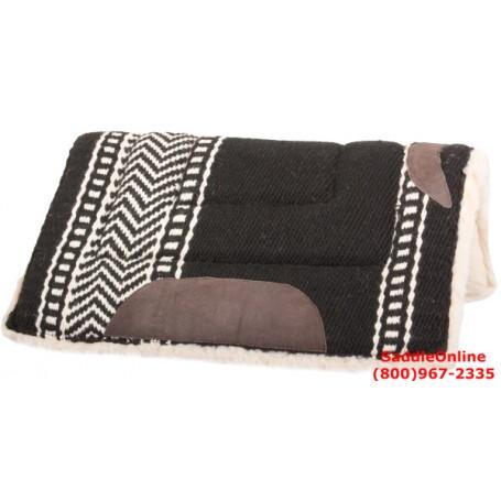 Premium Western Wool Black Saddle Pad Suede Leathers