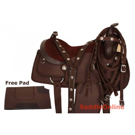 Brown Western Synthetic Trail Pleasure Horse Saddle 16 17