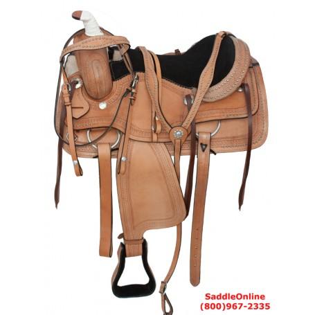 Western Pleasure Trail Work Leather Horse saddle 16 18