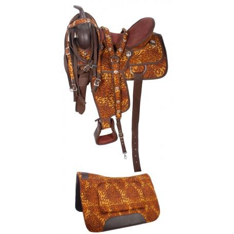 Leopard Print Western Horse Saddle Tack 14-17
