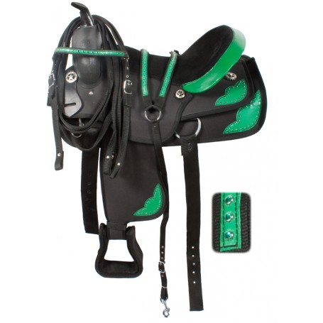 Western Pleasure Trail Green Synthetic Saddle 15-17