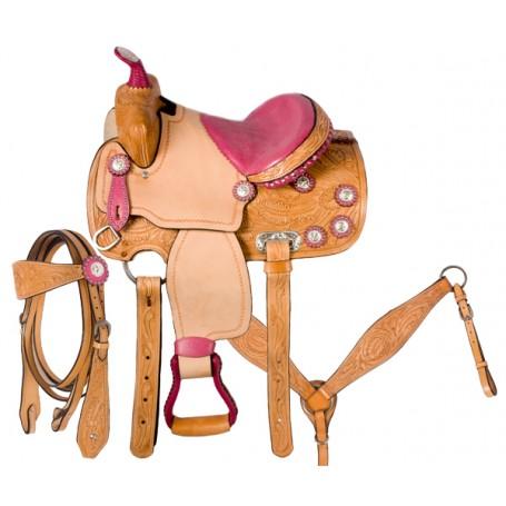 Pink Ostrich Barrel Racing Pony Western Saddle 12
