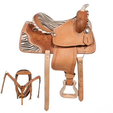 Kids Youth Pony Zebra Western Saddle 12