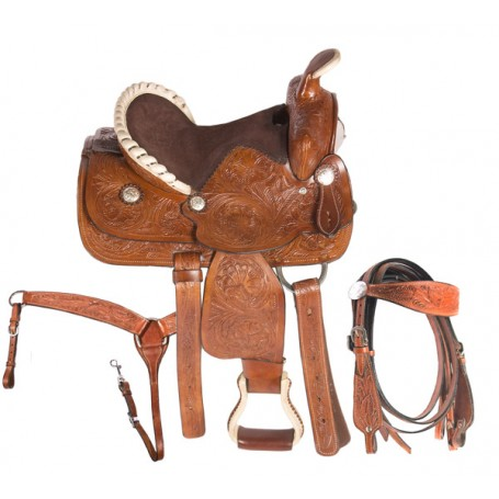 Brown Western Kids Youth Pony Leather Saddle 12 13