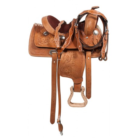 Brown Western Kids Youth Pony Leather Saddle 12