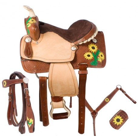 Pony Kids Youth Barrel Leather Saddle 12 13