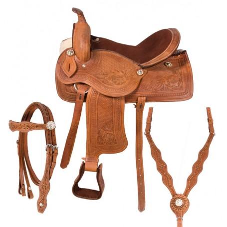 Western Leather Horse Pleasure Trail Saddle Tack 16