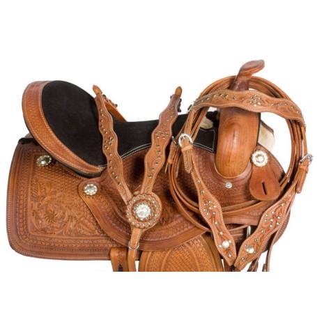 Western Leather Horse Pleasure Trail Saddle Tack 17