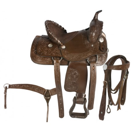 Brown Western Kids Horse Leather Saddle 14