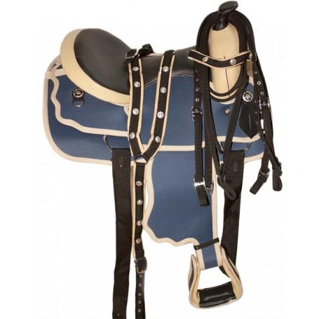 New 16 Blue Beautiful  Cordura Saddle W Tack