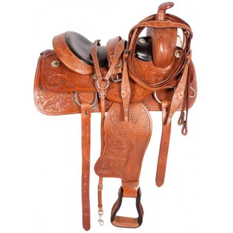Tan Western Pleasure Trail Horse Leather Saddle 16