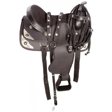 Synthetic Black Texas Star Show Horse Saddle Tack 15