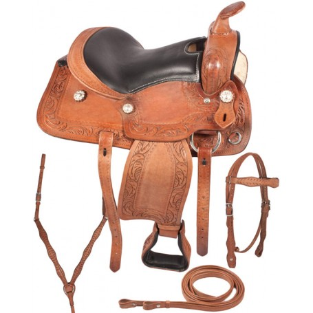 Kids Youth Pony Western Trail Leather Saddle 13