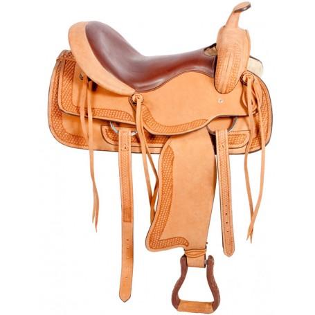 Tooled Western Pleasure Trail Horse Leather Saddle