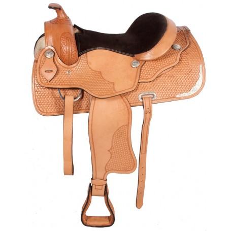 Tan Reining Western Leather Horse Saddle 16