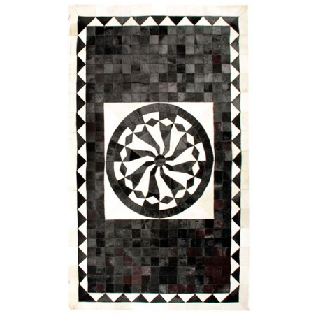 Black 5X8 Cow skin leather Cowhide Rug