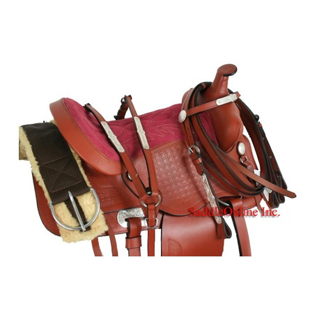 Youth 13-14 Leather Saddle With Tack and Pink Seat
