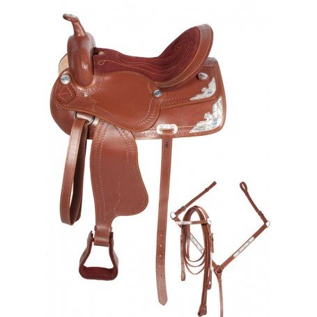 Blue Brown Western Leather Horse Show Saddle 15 16
