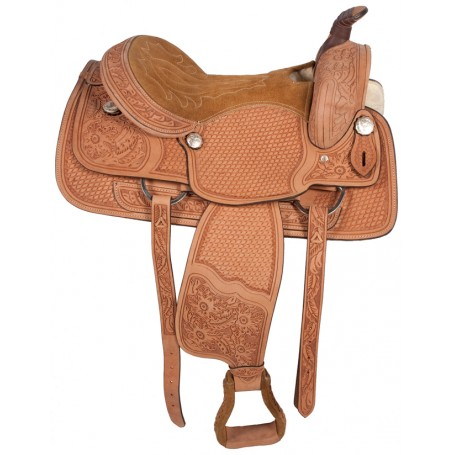 16 Western Pleasure Ranch Work Leather Saddle