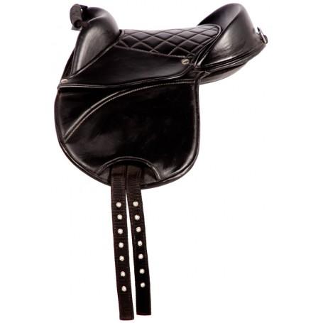 New Childs Toddler English Leadline Saddle Black 10