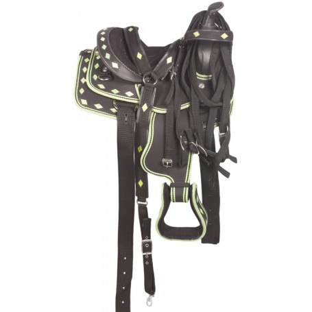 10 Western Green Synthetic Pony Kids Youth Saddle