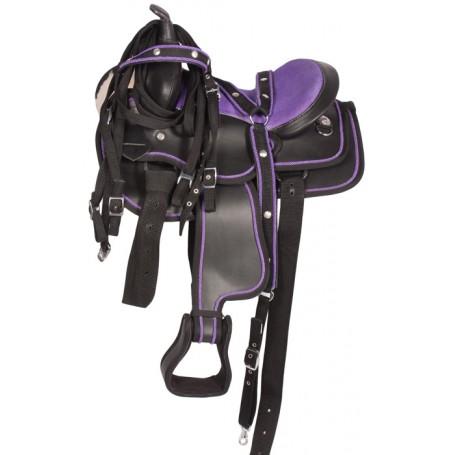 12 Western Purple Synthetic Pony Kids Youth Saddle