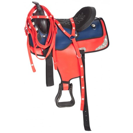 Red Blue Synthetic Western Horse Saddle 15 17